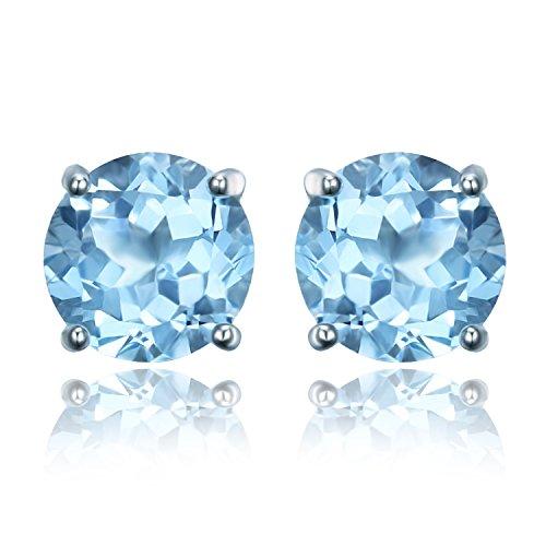 JewelryPalace 2ct Elégant Boucles d'Oreilles Femme Clous et Puces en Argent Sterling 925 en Topaze Bleue Ciel Naturelle