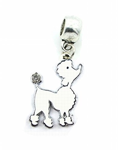 WHITE DOG POODLE MALTESE SHIH TZU GROOMER CHARM SLIDER PENDANT ADD TO YOUR NECKLACE, EUROPEAN BRACELET, DIY, ETC.