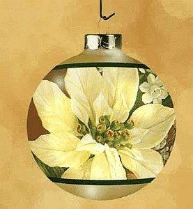 White Poinsettia Glass Ball 2002 Hallmark Keepsake Ornament QX2953