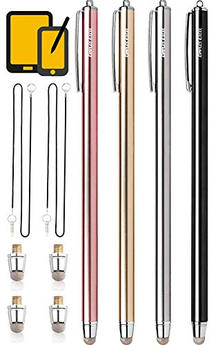 Dimples Excel Long Stylus Pen Styluses Pens Pencil Capacitive Tablets Tablet Touch Screen Touchscreens Cellphone Stylus for Apple iPad Pro iPad Mini Air iPhone with Replacement Microfiber Mesh Tip