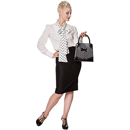 Handle White Off Black Polka White Banned or Black Top My 50's amp; Hands Black Handbag Bag Red w0aRx4qHU