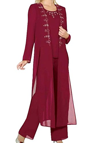 934bb4fab82 Home Brands Fitty Lell Fitty Lell Women s Burgundy Chiffon 3-Pieces Mother  of Bride Pant Suit Beaded Women Formal Gowns(US20W