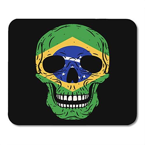 (Semtomn Gaming Mouse Pad Bone Human Skull Brazilian Flag Brazil Brutal Cartoon Country Cranium 9.5