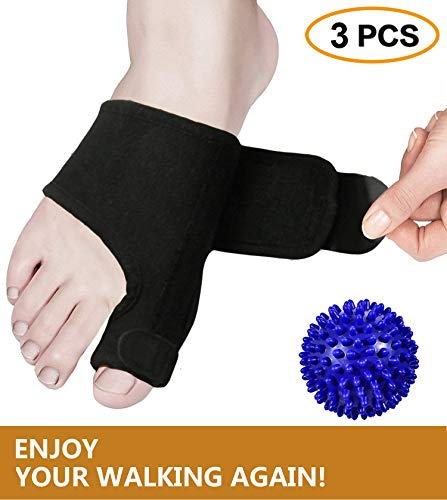 Bunion Splints, Bunion Corrector and Bunion Relief Pads with Bunion Tape for Hallux Valgus, Big Toe Joint, Overlapping Hammer Toes withFoot Massage Ball for Women and Men (Black)