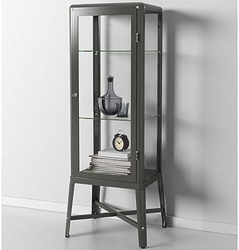 Ikea Fabrikor - Armario para puerta de cristal, color gris oscuro, con cerradura, diseño industrial: Amazon.es: Hogar