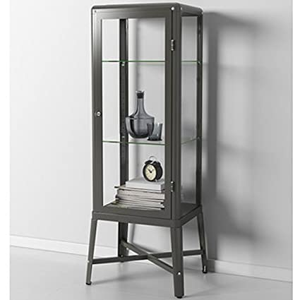 Amazoncom Ikea Fabrikor Glass Door Cabinet Dark Gray Lockable