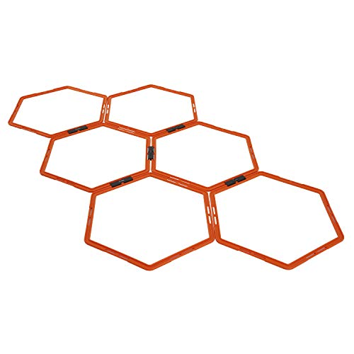 Yes4All Hexagonal Agility Rings with Carrying Bag - Speed Rings, Agility Hurdles for Agility Footwork Training (Set of 6 Rings)