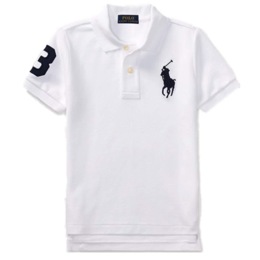 Polo Ralph Lauren Boys Embroidered Pique Polo Shirt (White/Black, 5)