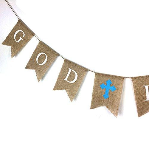 GOD BLESS Banner Flag Bunting,Burlap Communion Party Banner,Retro God Bless Baptisim Christening Garland Decoration Banner 2.8M//9 Feet Cross Blue