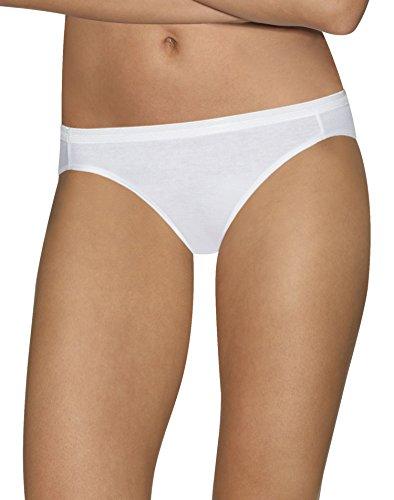 e Comfort Cotton 5-Pack Bikinis, 42HUCC, 7, White (White Womens Underwear)