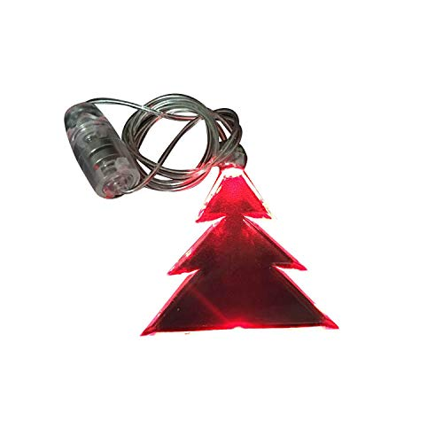 LED Light Up Glowing Christmas Tree Necklace (Red) (Neck Strap Flashing Lanyard)