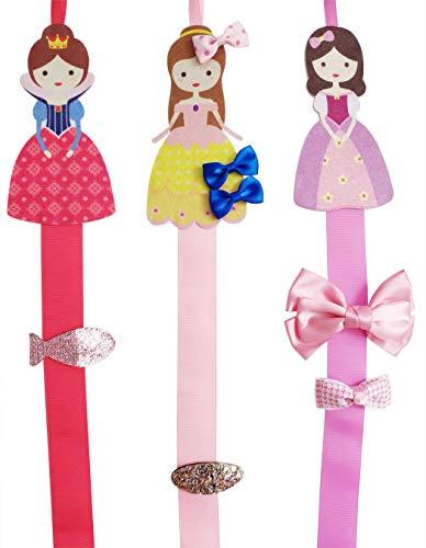 "- Hixixi 3pcs 32"" Princess Baby Girls Ribbon Hair Bow Hair Clip Holder Storage Organizer (3pcs princess)"