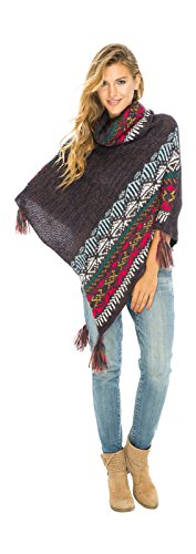 Back From Bali Womens Knit Sweater Cape Boho Soft T Neck Cowl Neck Poncho Tassels Brown