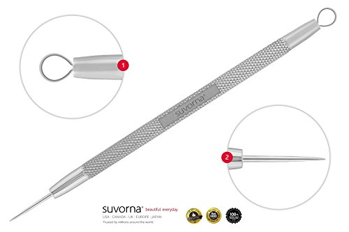 Suvorna Skinpal s35 Lancet for Whitehead Extractor, Pimple, Milia, Pus Removal Tool 2in1. Made with Dermatologist Grade Surgical Steel. Approved by aestheticians, Comes with Product guide & Warranty. ()