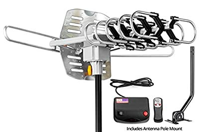ViewTV Outdoor Amplified Antenna with Adjustable Antenna Mount Pole - 150 Miles Range - 360° Rotation - Wireless Remote by ViewTV