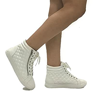 Forever DESIRE Quilted High Top Fashion Sneakers with Zipper Flat, White, 6