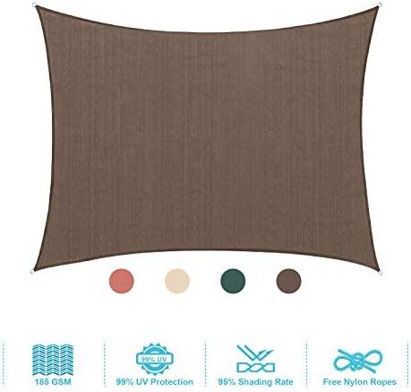 PHI VILLA Sun Shade Sail Square 12'x12' Coffee Patio Canopy Cover