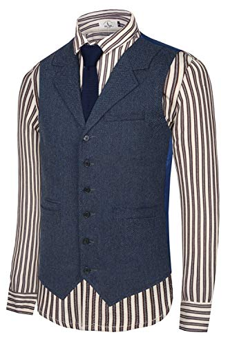 Hanayome Men's Slim Fit Classic Tweed Suits Vest Premium Wool Blend Waistcoat(SI166/XL)