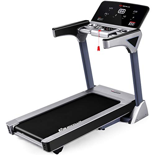 Goplus 3HP Folding Treadmill Electric Incline Running Jogging Fitness Machine with Large LED Touch Screen Bluetooth Speaker