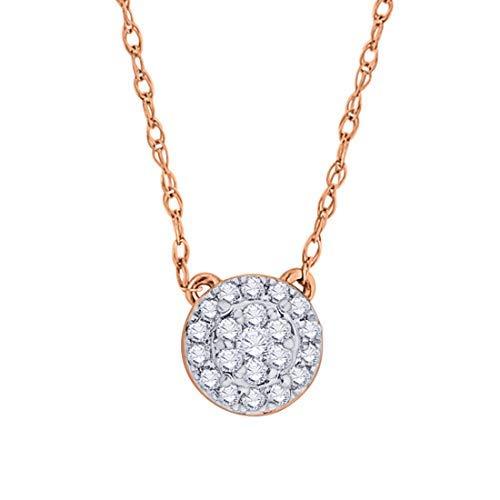 - IGI Certified 10k Rose Gold Round Natural Diamond Halo Frame Fashion Pendant Necklace (0.1 Cttw)