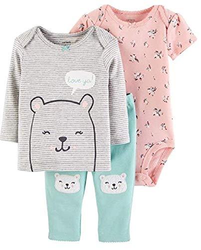 Carter's Baby Girls' 3-Piece Little Character Sets (Pink/Mint/Bears, 9 Months) (Piece Bear 3 Carters)