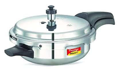 Prestige Deluxe Plus Induction Base Junior Pan Aluminium Pressure Cooker, 3 Litres, Silver