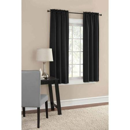 Mainstays Thermal Solid Woven Window Panel Pair, Size 60x63, Color BLACK