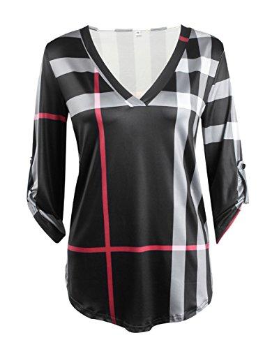 Stripe 3/4 Sleeve Big Shirt (Womens Trendy Roll Up 3/4 Sleeve V Neck Plain Shirt Blouse Plus Size Tunic Tops (XXL(US 14), Black))