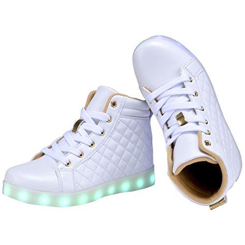COODO Kids Boys Girls LED Light Up Shoes Flashing Sneakers(Toddler/Litter Kids) 6-white/Gold lUm5Qalq