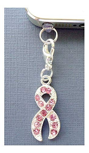 Pink Ribbon Cell Phone Charm - Pink Ribbon Cell Phone Charm Dust Proof Plug Ear Jack