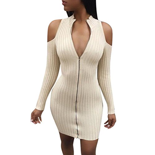 Momtuesdays2 Women's Zip Front Long Sleeve Knit Sweater Dress (Color 1, S)