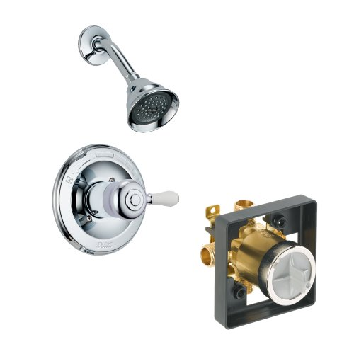 Delta Delta KSDLE-T14278H777-CH Leland Shower Kit Pressure-Balance Single-Function Cartridge with Porcelain Lever Handle, Chrome ()