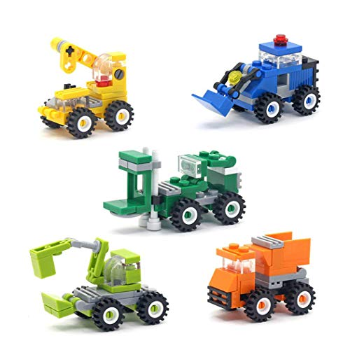 Micro Bridge Engineering (5 Boxes Diamond Block Engineering vehicle Miniature Building Blocks Parent-child Games Children's Educational Toys Dozer, Dump truck, Crane, Excavator, Forklift Etc)