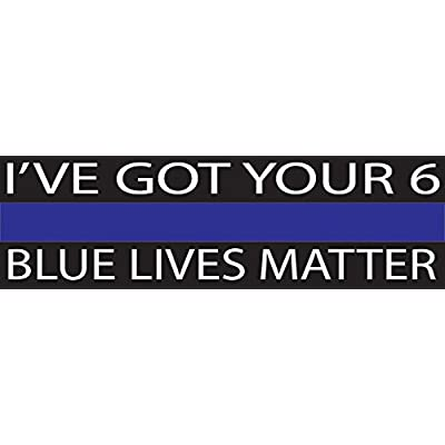 10in x 3in Large Blue Lives Matter Flag Auto Decal Bumper Sticker Support Law Enfocement Police Officers Thin Blue Line (I've Got Your): Automotive