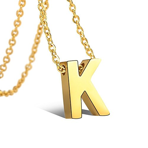 Tarsus K Initial Letter Necklace 14K Gold Plated Tiny Monogram Alphabet Script Pendant Necklaces Jewelry Gifts for Women Mens Little Girls Boys