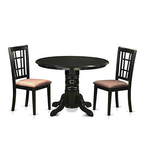 East West Furniture SHNI3-BLK-C 3 Piece Kitchen Dinette Table and 2 Chairs Set