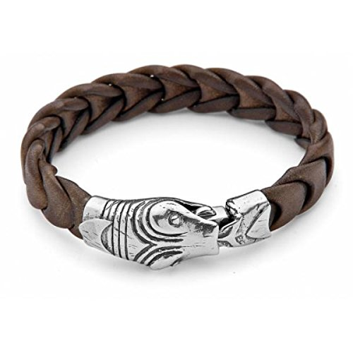 Platadepalo SP2-Bracelet en cuir marron avec fermeture de Serpent en Argent