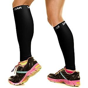 Physix Gear Sport Compression Calf Sleeves for Men & Women (20-30mmhg) - Best Footless Compression Socks for Shin Splints, Running, Leg Pain, Nurses & Pregnancy - Increase Circulation - BLK LXL