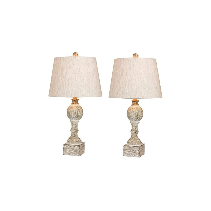 Cory Martin W-6239CAW-2PK Fangio Lighting's #6239CAW-2PK Pair of 26.5 in. Distressed, Sculpted Column Resin Table Lamps…