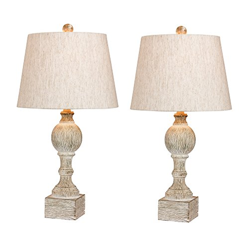 Cory Martin W-6239CAW-2PK Fangio Lighting's #6239CAW-2PK Pair of 26.5 in. Distressed, Sculpted Column Resin Table Lamps in a Cottage Antique White Finish, 2 Piece (Antique White Lamps)