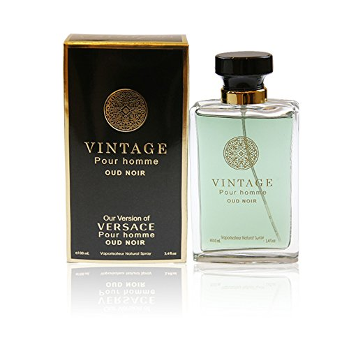 (VINTAGE POUR HOMME OUD NOIR, Our Inspiration of VERSACE OUD NOIR, Eau de Toilette Spray for Men, Perfect Gift, Charismatic, Daytime and Casual Use, for all Skin Types, 3.4 Fl)