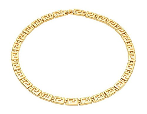10mm Matte Finish Greek Key Collar Necklace, 16