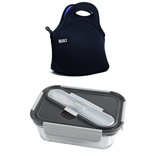 BUILT NY Gourmet Getaway Neoprene Lunch Tote With Single Compartment Glass Lunch Container with Stainless Steel Utensils