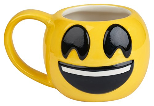 Emoji Coffee Cups-Free KCup of Gourmet Coffee-12 oz Emoji Coffee Mugs Great for Hot Cocoa, Soup or as a Candy Jar-Totally Unique Gift Idea (Smiley) (Gourmet Cocoa Mug)