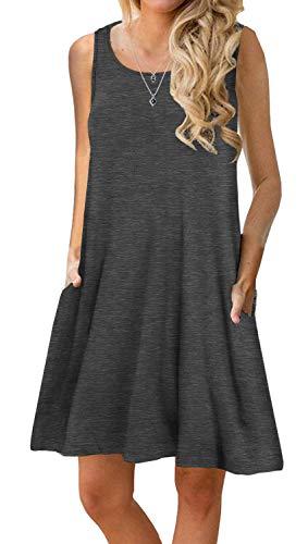 PrinStory Women's Summer Casual Sleeveless Swing Dress Sundress with Pockets Dark Gray S