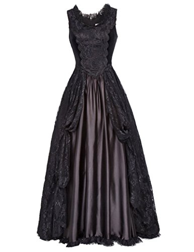 Women Girls Vintage Steampunk Victorian Edwardian Downton Abbey Maxi Dress BP378-1 L Black
