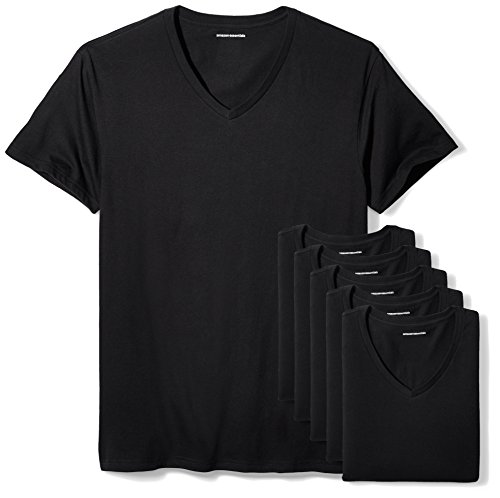 Amazon Essentials Men's 6-Pack V-Neck Undershirts, black,