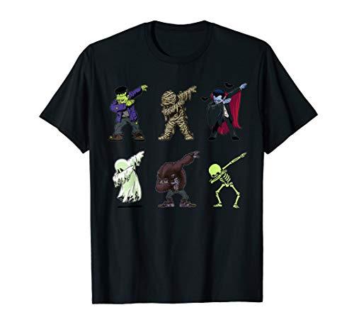 Dabbing Skeleton Shirt Halloween Monsters Dracula Ghost Kids]()