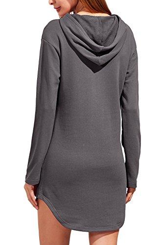 Pullover Capucha Cordon Mujer Vestido Solid Sweatshirt Con Casual La Grey Slim Mini Con dvtqXnw