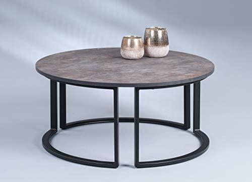 Koop Nieuwste HomeTrends4You Ohio 2 salontafel/salontafel, MDF, bruin/zwart, H = 38 cm D = 80 cm  JKKRgLb